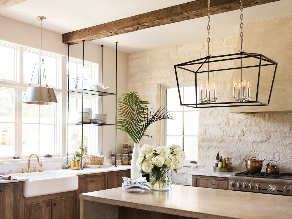Linear Suspension lighting for large kitchens.