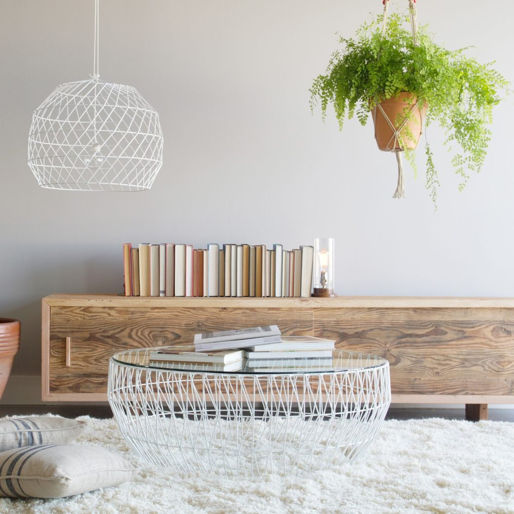 light coffee table with hanging, airy plants.