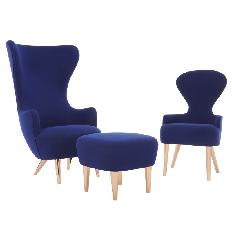Mid century modern wingback dining chair in sapphire.