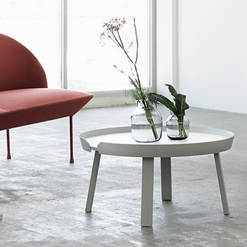 Round, modern coffee table.