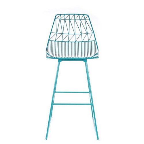 Modern blue wire counter stool with back.