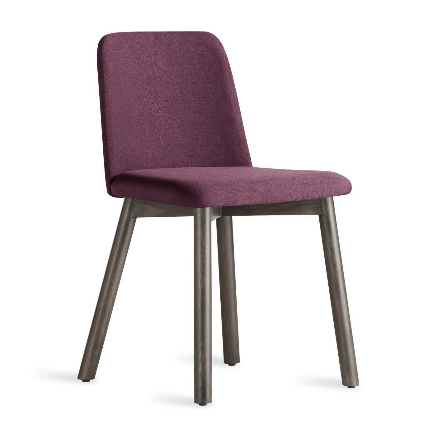 Simple upholstered dining chair with wooden legs.