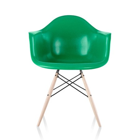Modern, green and plastic armchair.