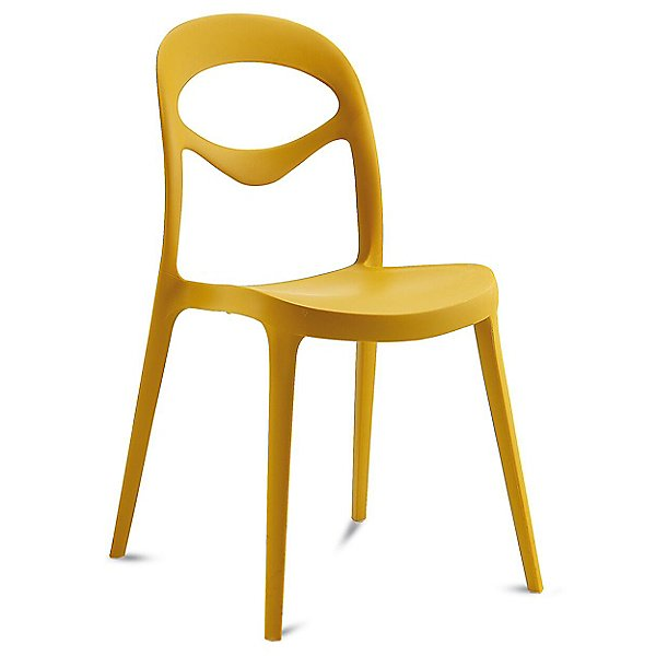 modern, yellow stackable plastic dining chair.