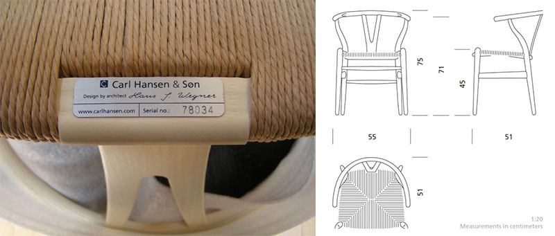 Modern chair serial number and seal.