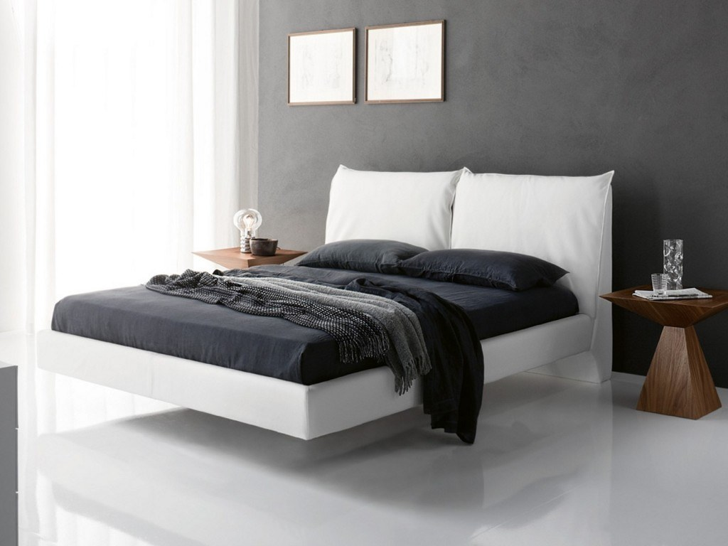 modern white floating bed