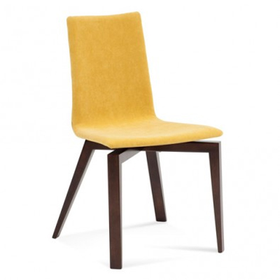Yellow upholstered dining chair with wooden legs.