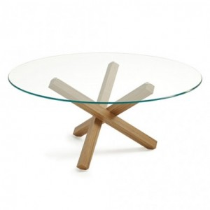 Modern wood and glass dining table.