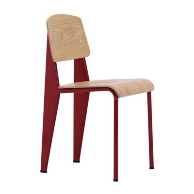 red, metal and wood chair.