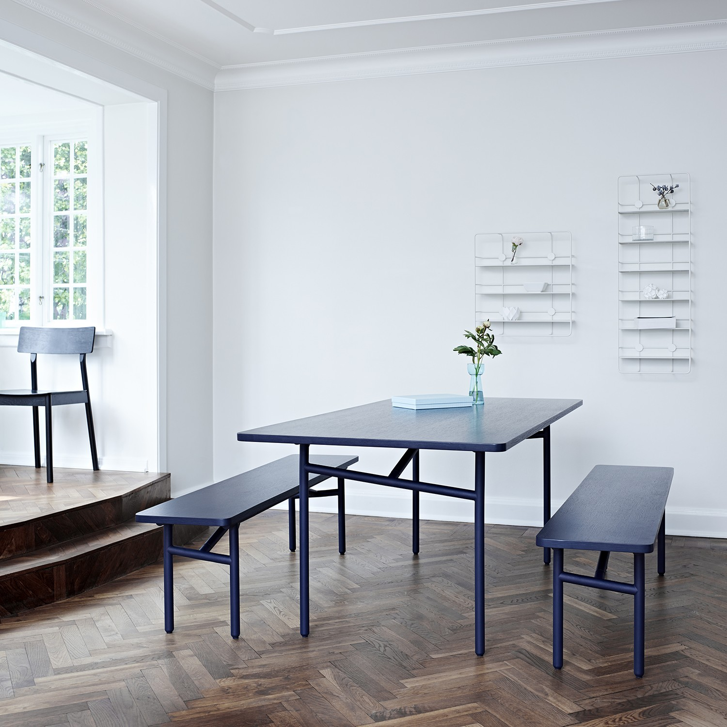 dining table with diagonal tubes