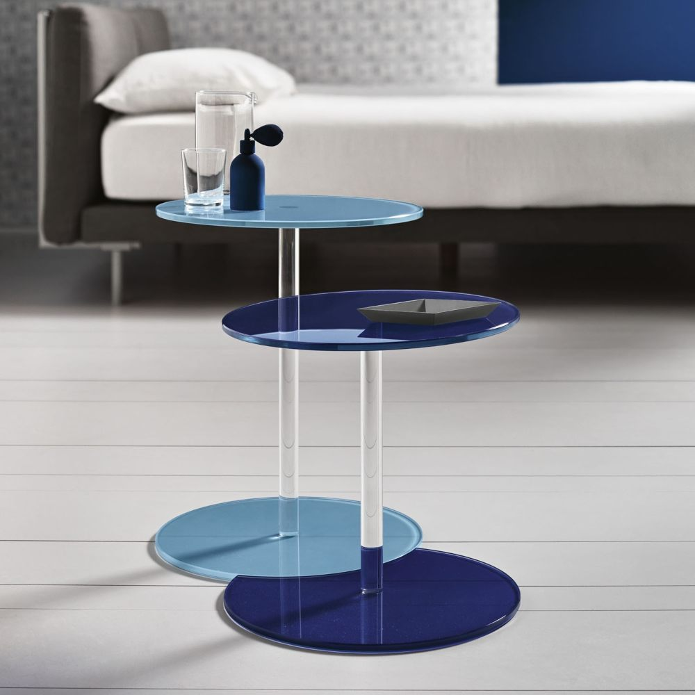 modern blue and light blue round top end tables.