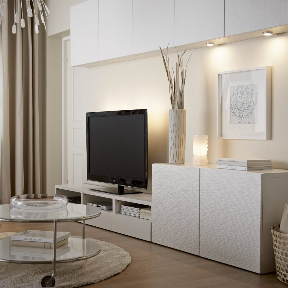 Modern white themed media room.