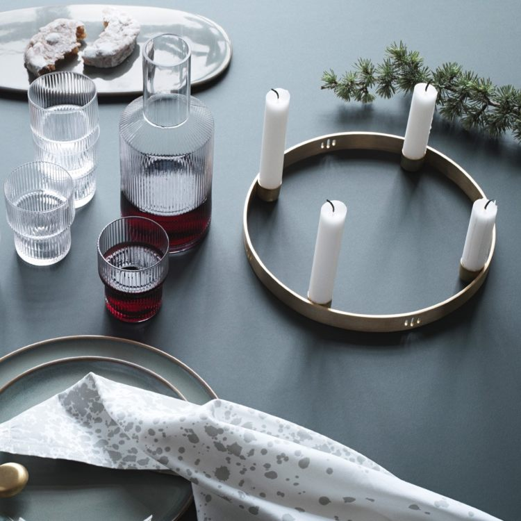 brass circle candle holders.