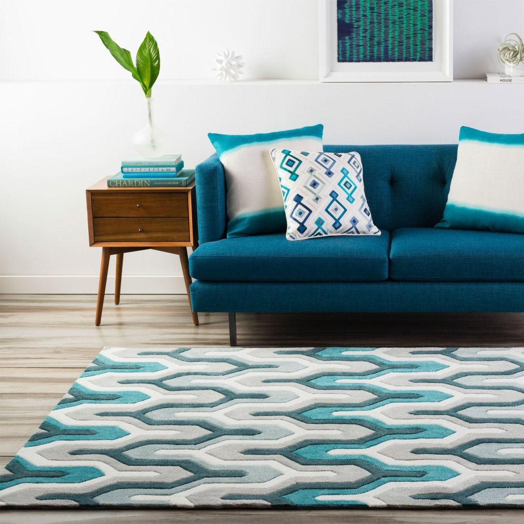 contemporary and bold blue rug.
