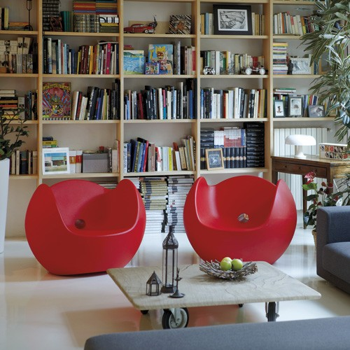 modern red rocking and lounge chairs.