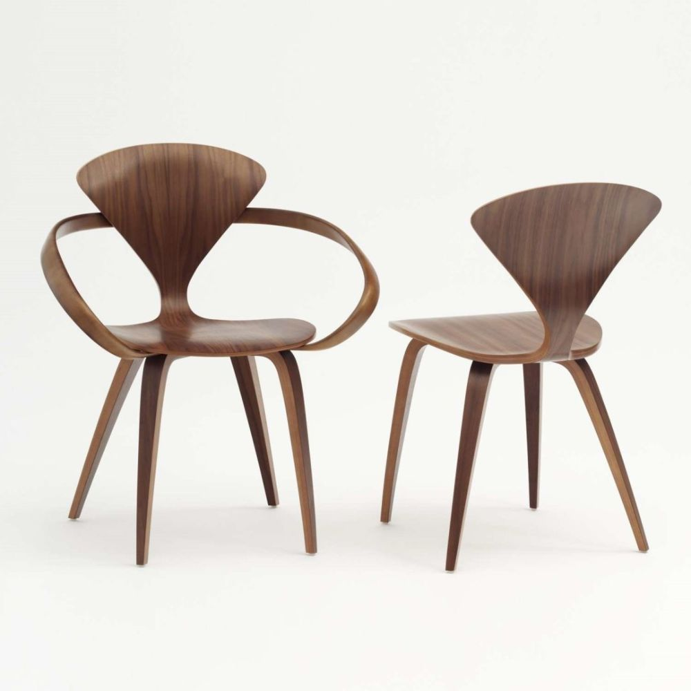 wood cherner arm chair and armless chair.