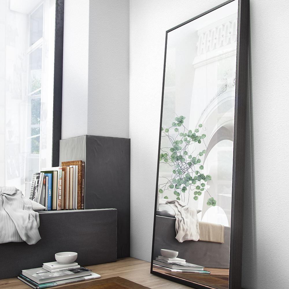 modern bedroom rectangular half mirror.