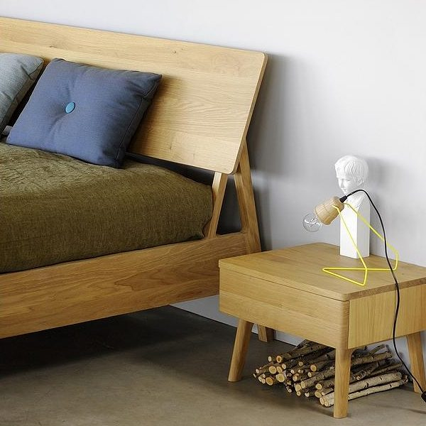 mdoern wood bed and bedside table.