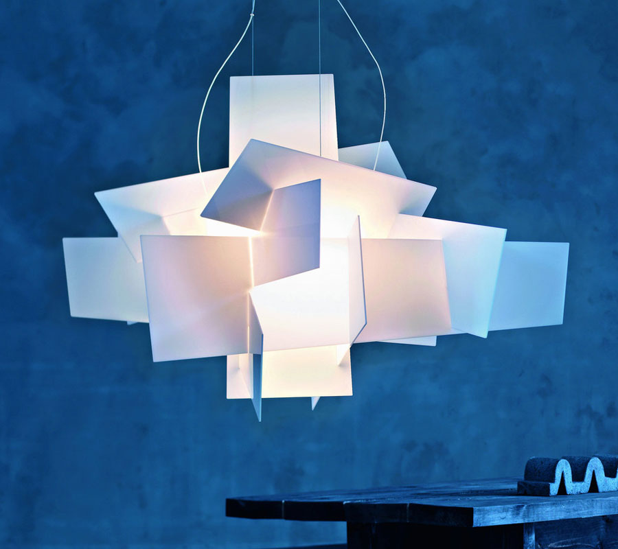 Foscarini Big Bang Chandelier against a blue backdrop