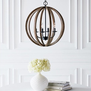 Modern & Contemporary Wood Orb Chandeliers